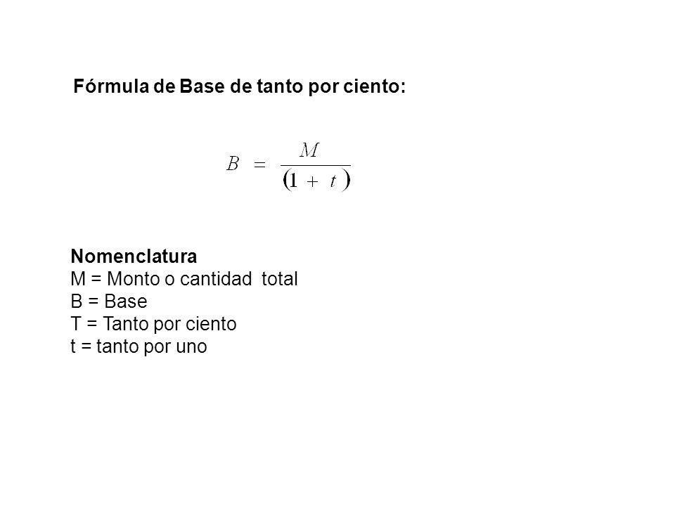 Fórmula de Base de tanto por ciento: Nomenclatura M = Monto o cantidad total B = Base T = Tanto por ciento t = tanto por uno