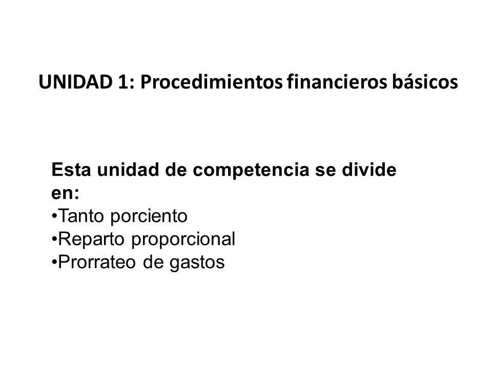 UNIDAD 1: Procedimientos financieros básicos Esta unidad de competencia se divide en: Tanto porciento Reparto proporcional Prorrateo de gastos
