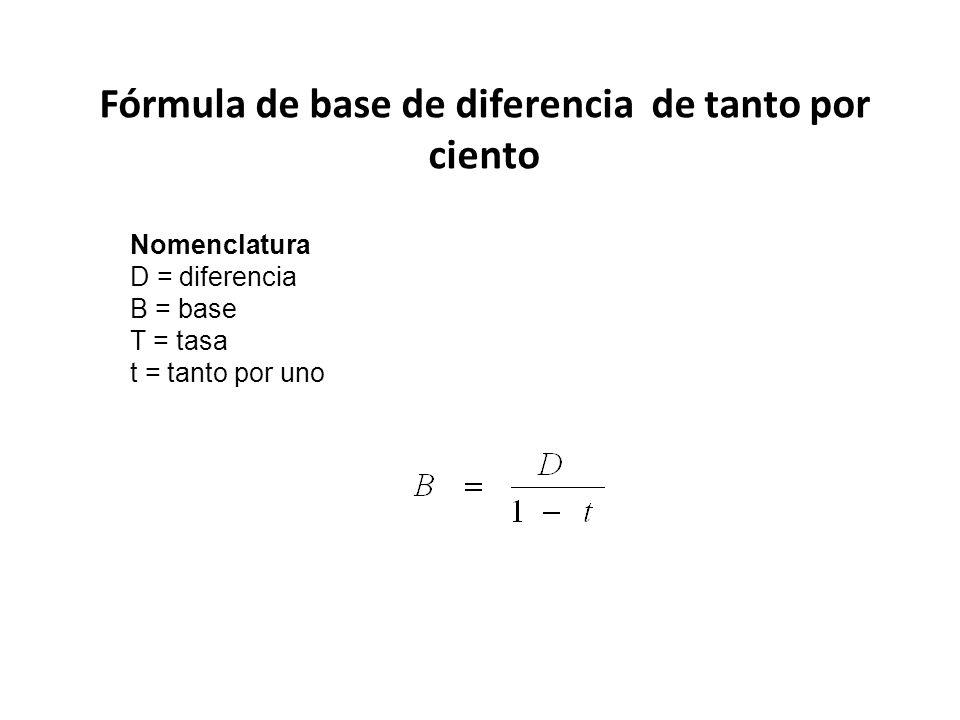 Fórmula de base de diferencia de tanto por ciento Nomenclatura D = diferencia B = base T = tasa t = tanto por uno