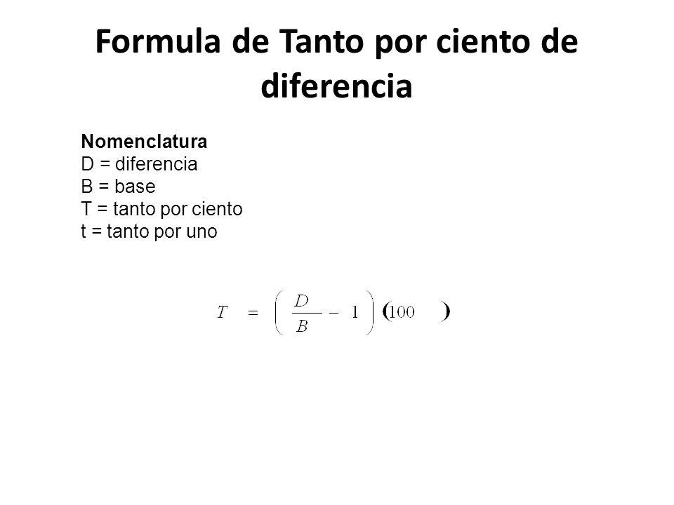 Formula de Tanto por ciento de diferencia Nomenclatura D = diferencia B = base T = tanto por ciento t = tanto por uno