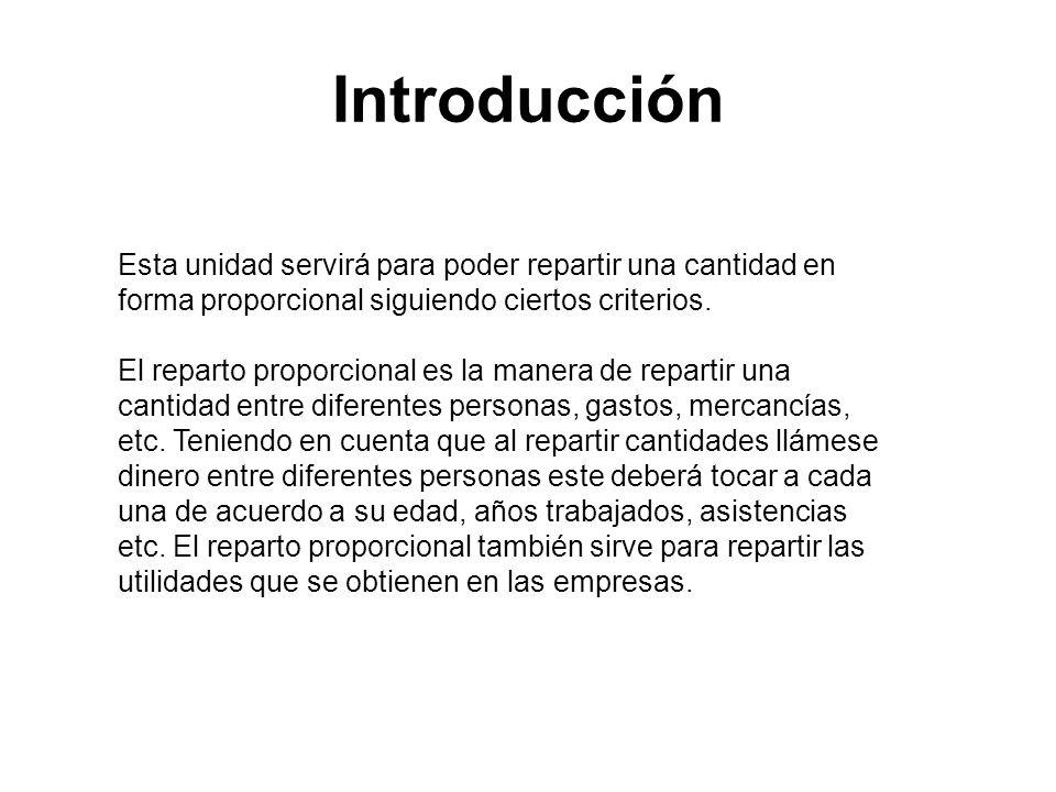 Introducción Esta unidad servirá para poder repartir una cantidad en forma proporcional siguiendo ciertos criterios. El reparto proporcional es la man