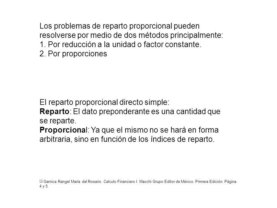 Los problemas de reparto proporcional pueden resolverse por medio de dos métodos principalmente: 1. Por reducción a la unidad o factor constante. 2. P