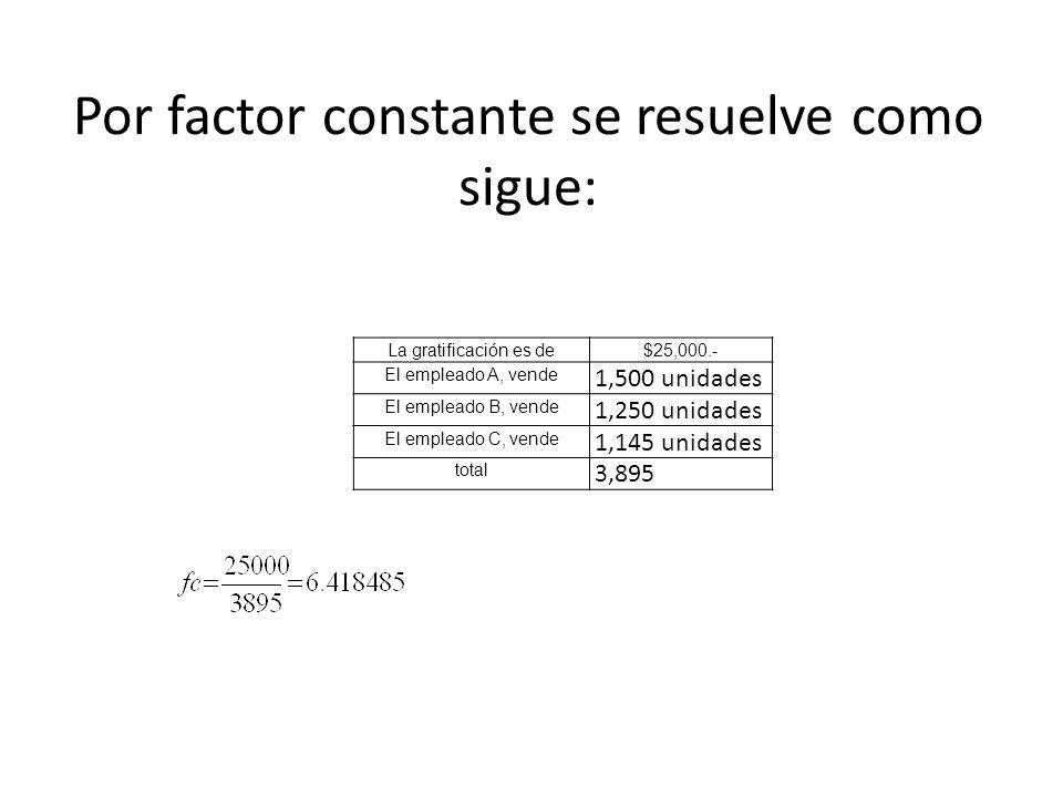 Por factor constante se resuelve como sigue: La gratificación es de$25,000.- El empleado A, vende 1,500 unidades El empleado B, vende 1,250 unidades E