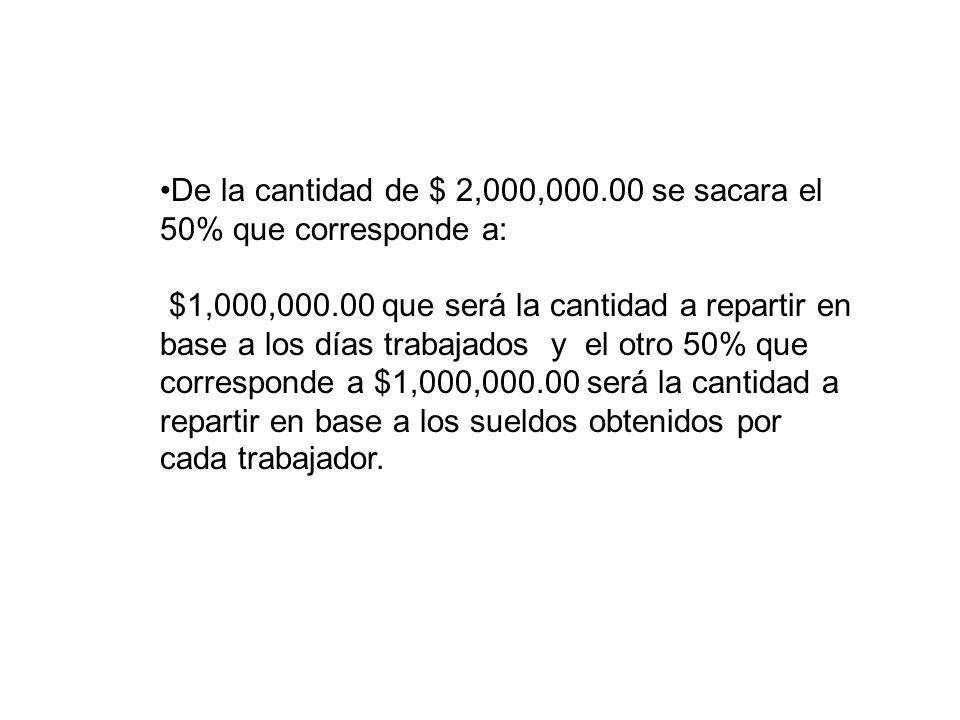 De la cantidad de $ 2,000,000.00 se sacara el 50% que corresponde a: $1,000,000.00 que será la cantidad a repartir en base a los días trabajados y el