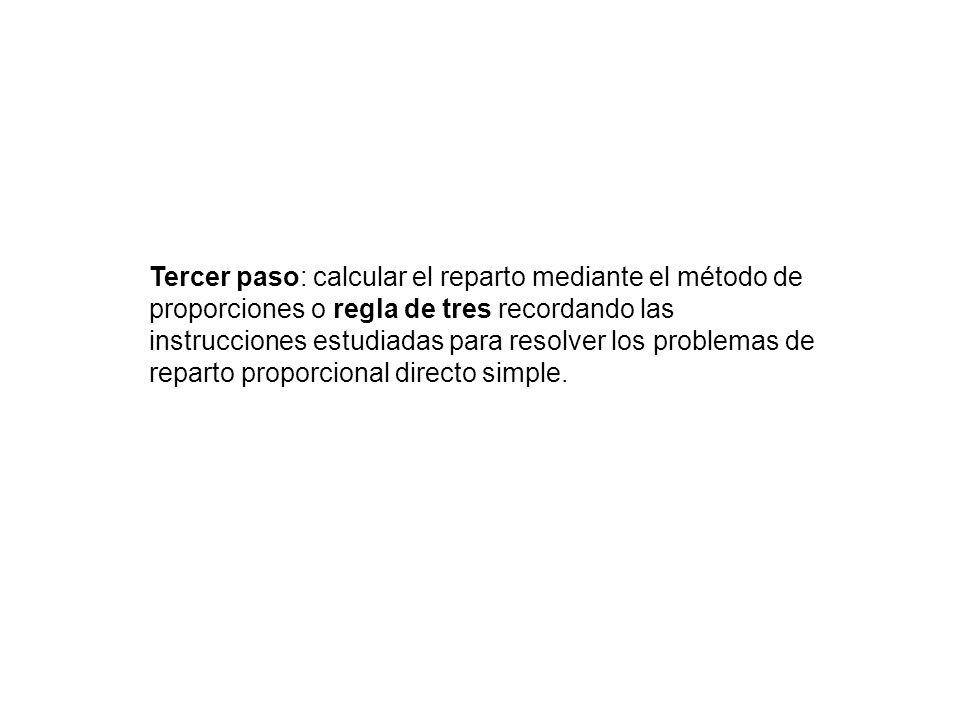 Tercer paso: calcular el reparto mediante el método de proporciones o regla de tres recordando las instrucciones estudiadas para resolver los problema