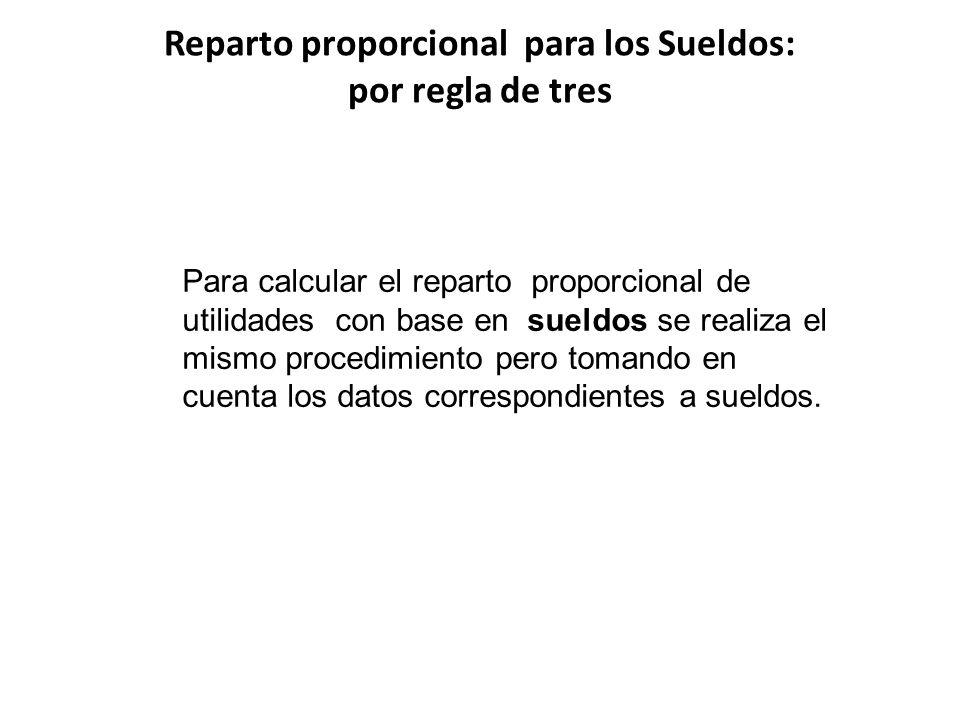 Reparto proporcional para los Sueldos: por regla de tres Para calcular el reparto proporcional de utilidades con base en sueldos se realiza el mismo p