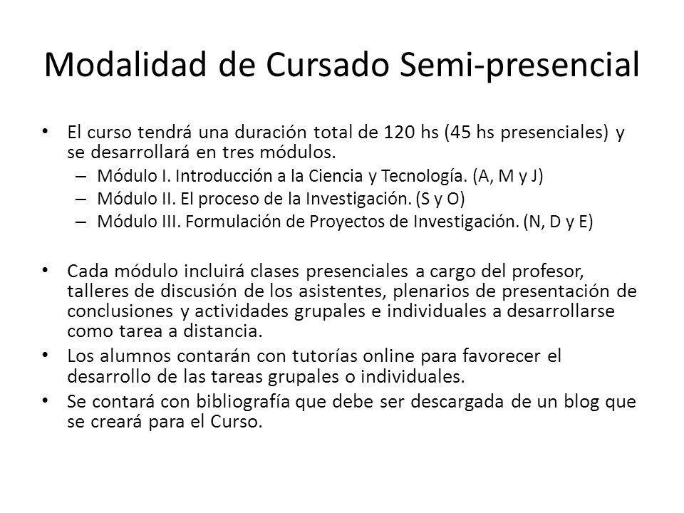 Modalidad de Cursado Semi-presencial El curso tendrá una duración total de 120 hs (45 hs presenciales) y se desarrollará en tres módulos. – Módulo I.