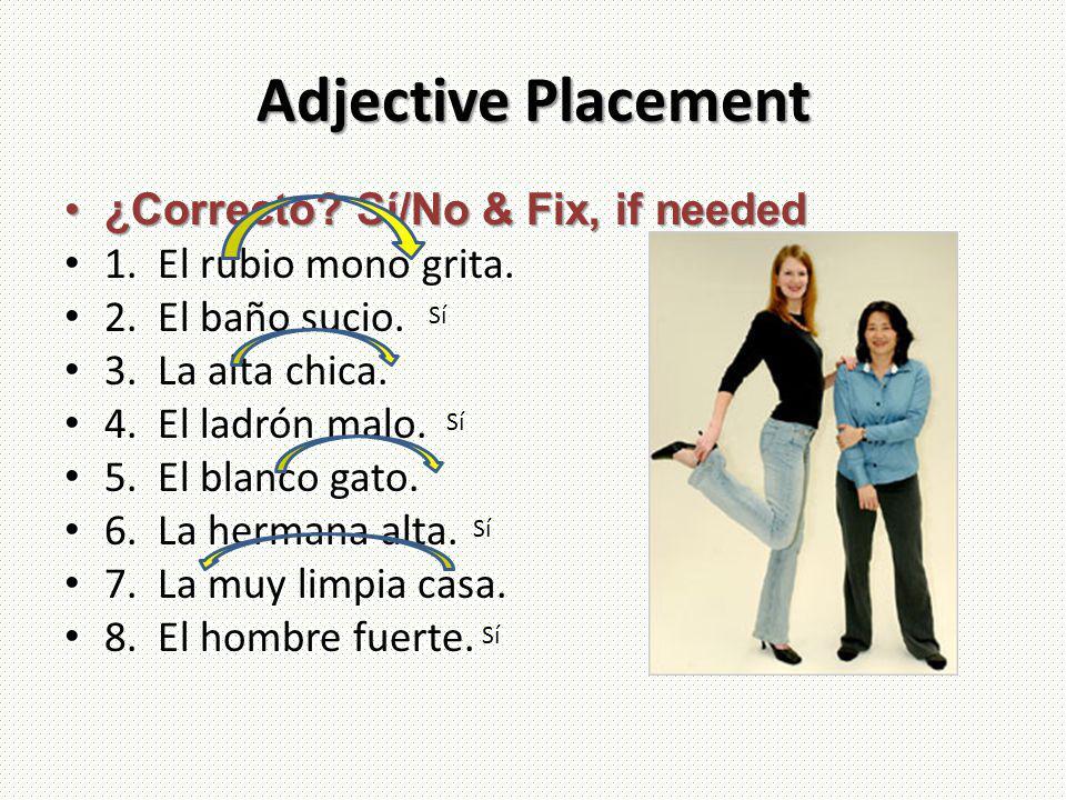 Adjective Placement ¿Correcto? Sí/No & Fix, if needed¿Correcto? Sí/No & Fix, if needed 1. El rubio mono grita. 2. El baño sucio. 3. La alta chica. 4.