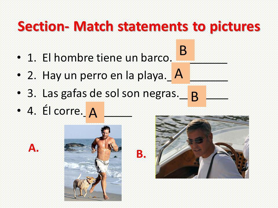 Section- Match statements to pictures 1. El hombre tiene un barco._________ 2. Hay un perro en la playa.__________ 3. Las gafas de sol son negras.____