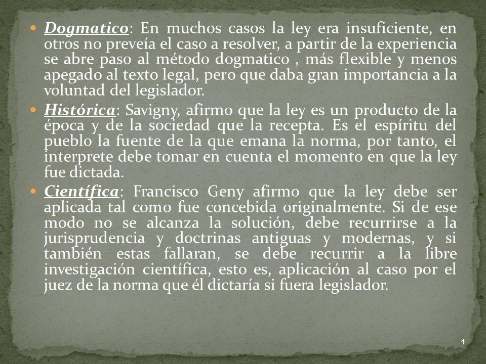 Dogmatico: En muchos casos la ley era insuficiente, en otros no preveía el caso a resolver, a partir de la experiencia se abre paso al método dogmatic