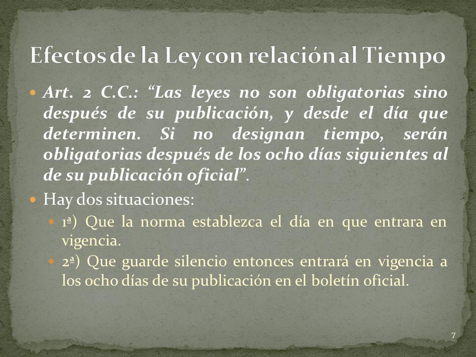 Art. 2 C.C.: Las leyes no son obligatorias sino después de su publicación, y desde el día que determinen. Si no designan tiempo, serán obligatorias de