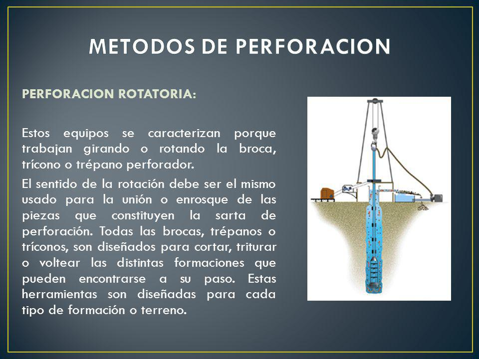 PERFORACION ROTATORIA: Estos equipos se caracterizan porque trabajan girando o rotando la broca, trícono o trépano perforador. El sentido de la rotaci