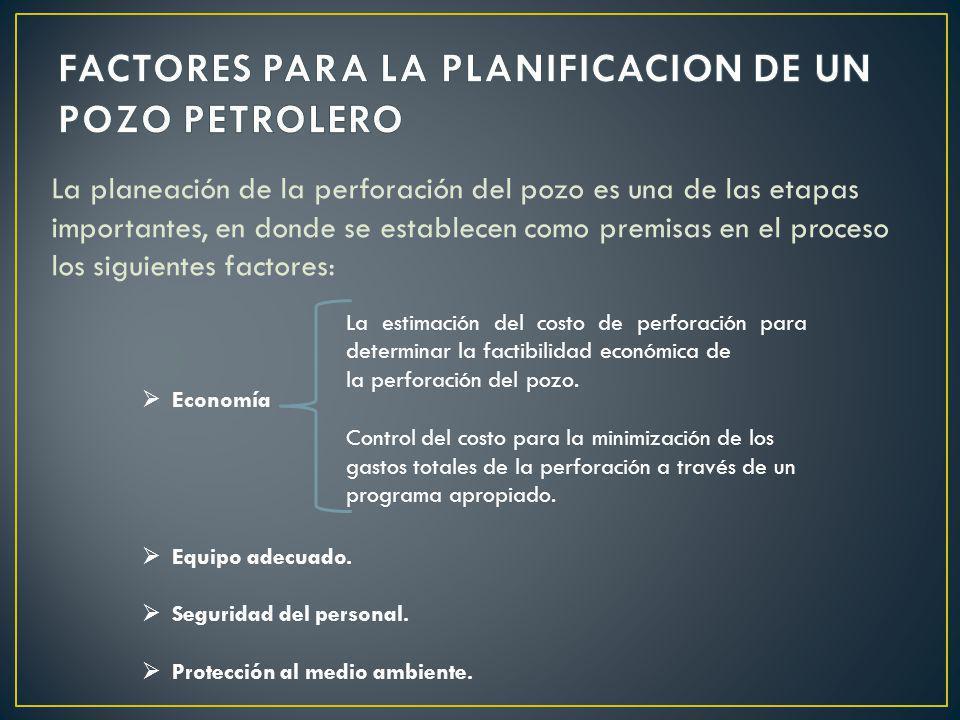 La planeación de la perforación del pozo es una de las etapas importantes, en donde se establecen como premisas en el proceso los siguientes factores: