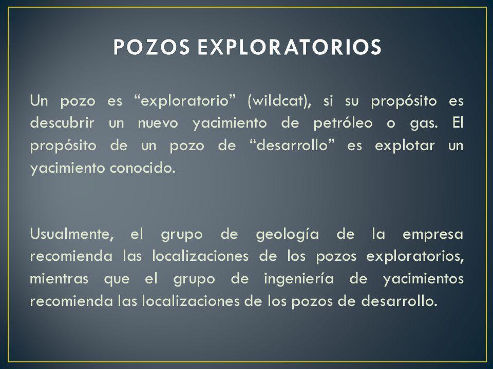 Un pozo es exploratorio (wildcat), si su propósito es descubrir un nuevo yacimiento de petróleo o gas. El propósito de un pozo de desarrollo es explot