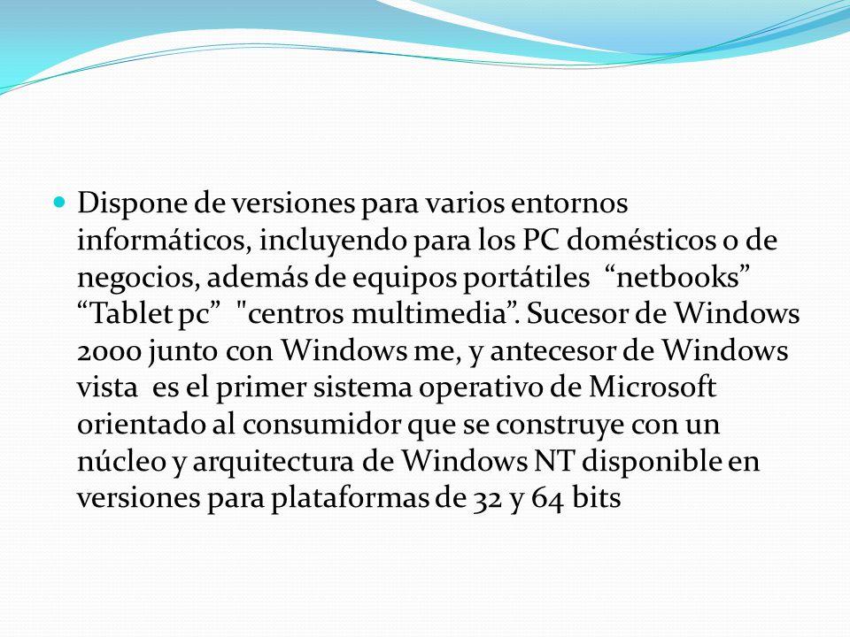 Dispone de versiones para varios entornos informáticos, incluyendo para los PC domésticos o de negocios, además de equipos portátiles netbooks Tablet