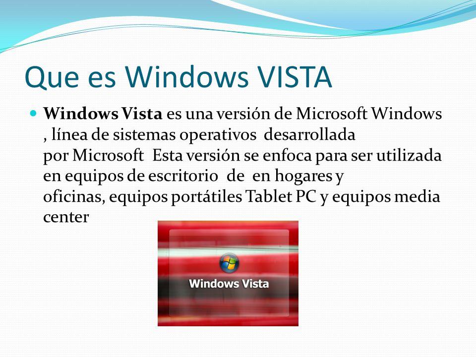 Que es Windows VISTA Windows Vista es una versión de Microsoft Windows, línea de sistemas operativos desarrollada por Microsoft Esta versión se enfoca