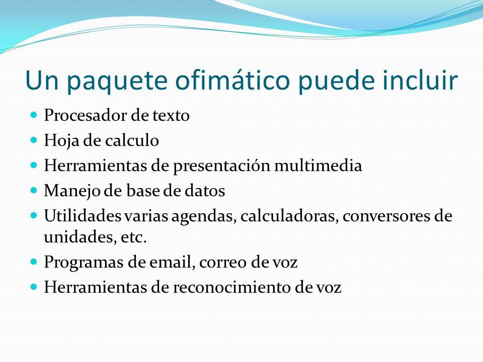 Un paquete ofimático puede incluir Procesador de texto Hoja de calculo Herramientas de presentación multimedia Manejo de base de datos Utilidades vari