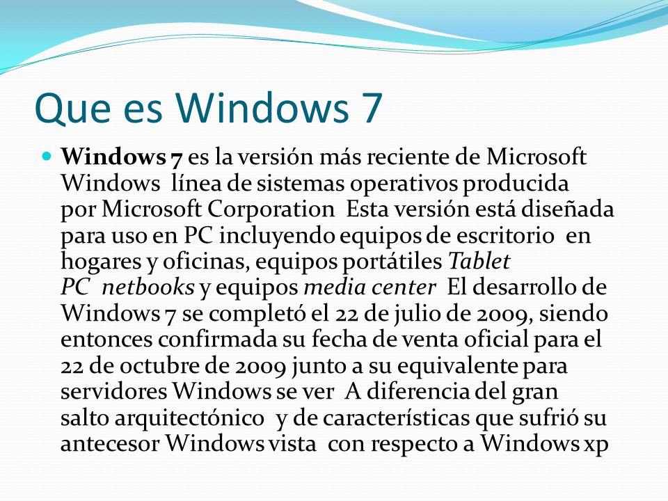 Que es Windows 7 Windows 7 es la versión más reciente de Microsoft Windows línea de sistemas operativos producida por Microsoft Corporation Esta versi