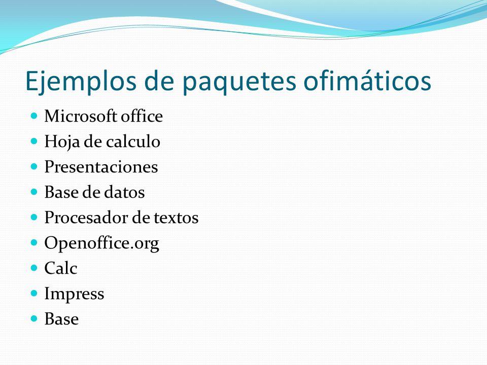 Ejemplos de paquetes ofimáticos Microsoft office Hoja de calculo Presentaciones Base de datos Procesador de textos Openoffice.org Calc Impress Base