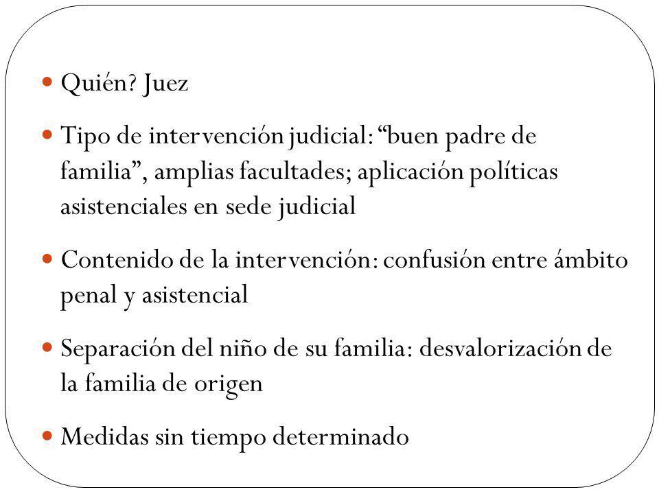 Quién? Juez Tipo de intervención judicial: buen padre de familia, amplias facultades; aplicación políticas asistenciales en sede judicial Contenido de