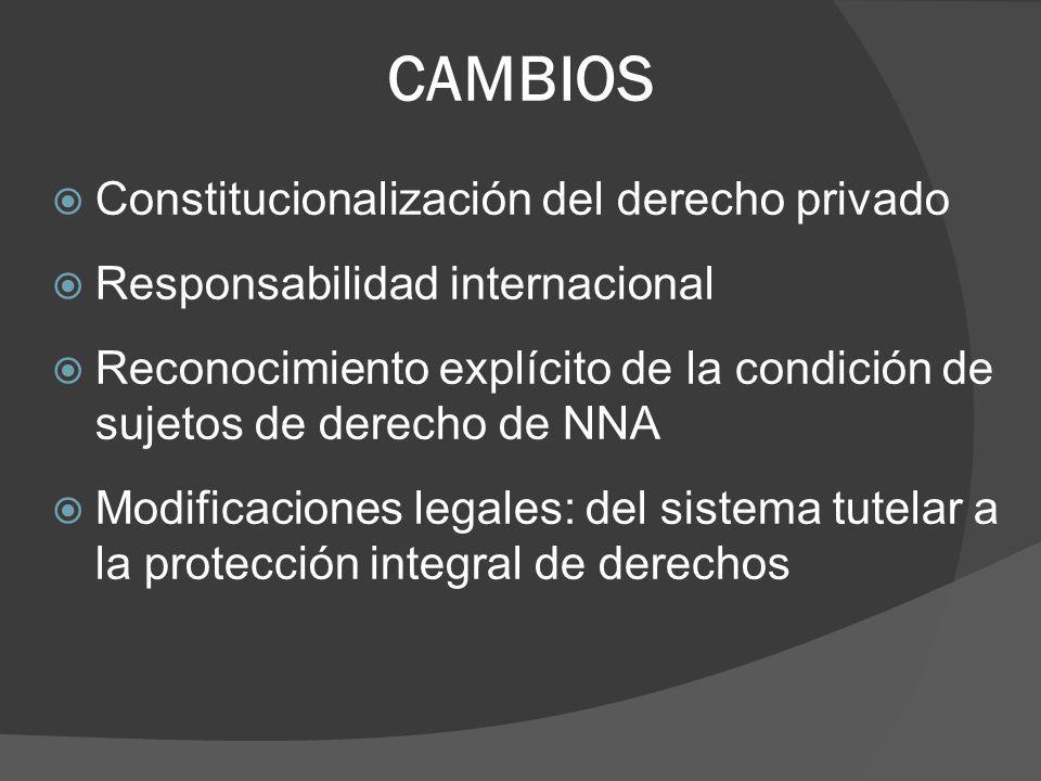 CAMBIOS Constitucionalización del derecho privado Responsabilidad internacional Reconocimiento explícito de la condición de sujetos de derecho de NNA