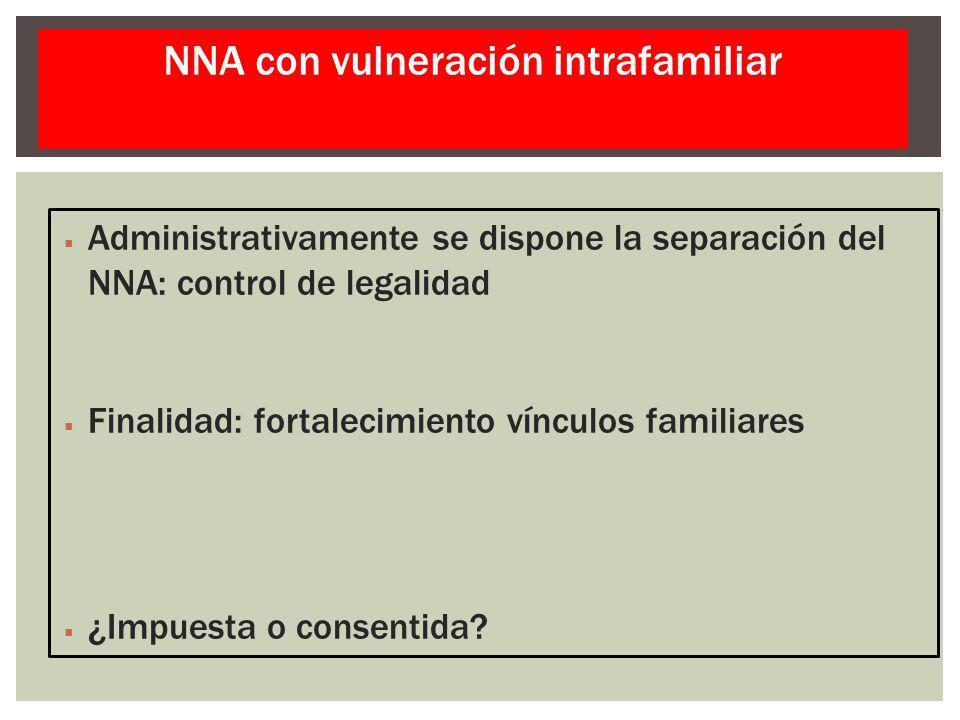 Administrativamente se dispone la separación del NNA: control de legalidad Finalidad: fortalecimiento vínculos familiares ¿Impuesta o consentida? NNA