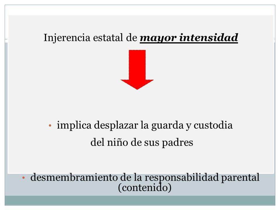 Injerencia estatal de mayor intensidad implica desplazar la guarda y custodia del niño de sus padres desmembramiento de la responsabilidad parental (c