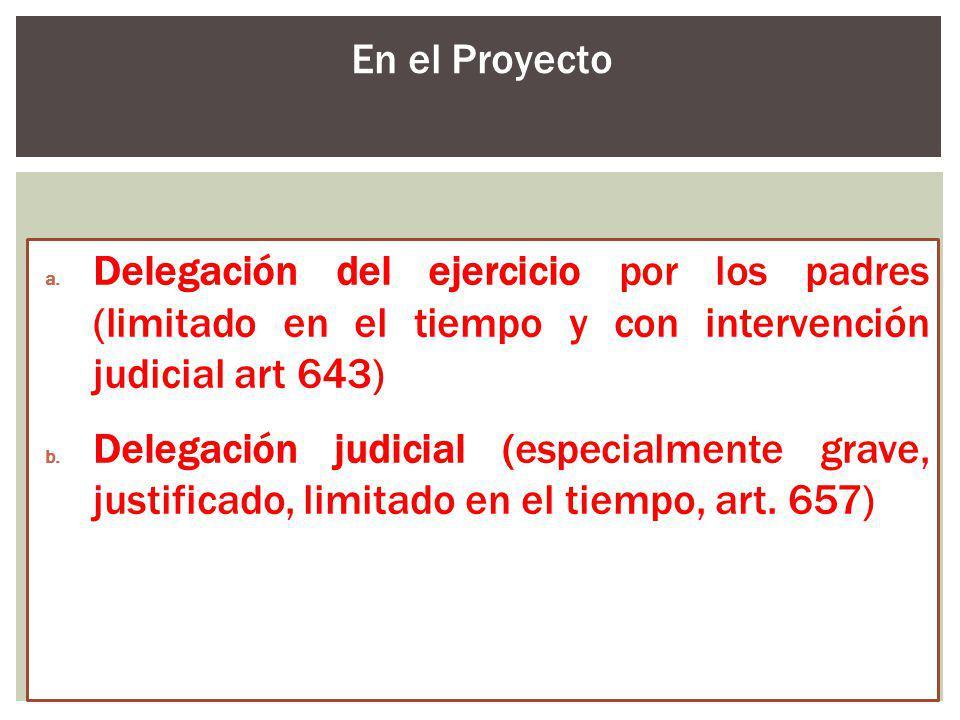 a. Delegación del ejercicio por los padres (limitado en el tiempo y con intervención judicial art 643) b. Delegación judicial (especialmente grave, ju