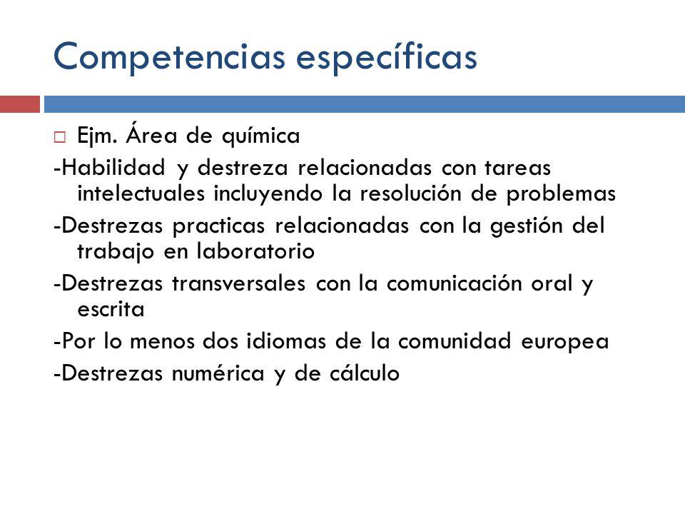 Competencias específicas Ejm. Área de química -Habilidad y destreza relacionadas con tareas intelectuales incluyendo la resolución de problemas -Destr