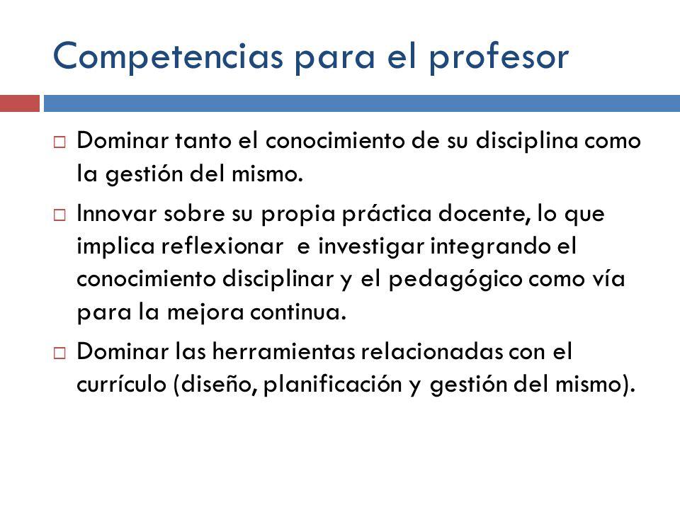 Competencias para el profesor Dominar tanto el conocimiento de su disciplina como la gestión del mismo. Innovar sobre su propia práctica docente, lo q