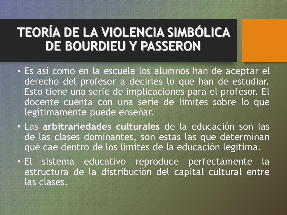 TEORÍA DE LA VIOLENCIA SIMBÓLICA DE BOURDIEU Y PASSERON Es así como en la escuela los alumnos han de aceptar el derecho del profesor a decirles lo que