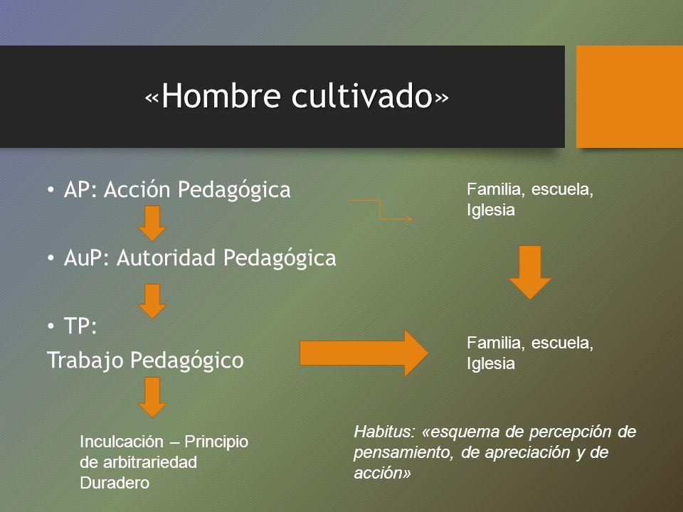 Hombrecultivado «Hombre cultivado» AP: Acción Pedagógica AuP: Autoridad Pedagógica TP: Trabajo Pedagógico Familia, escuela, Iglesia Habitus: «esquema