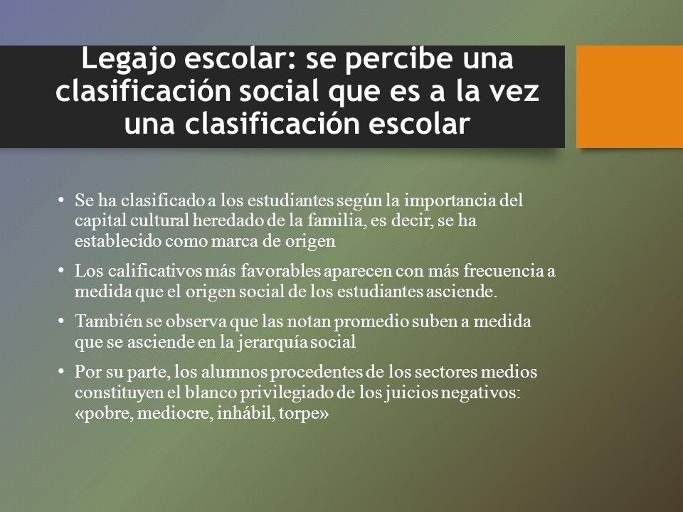 Legajo escolar: se percibe una clasificación social que es a la vez una clasificación escolar Se ha clasificado a los estudiantes según la importancia