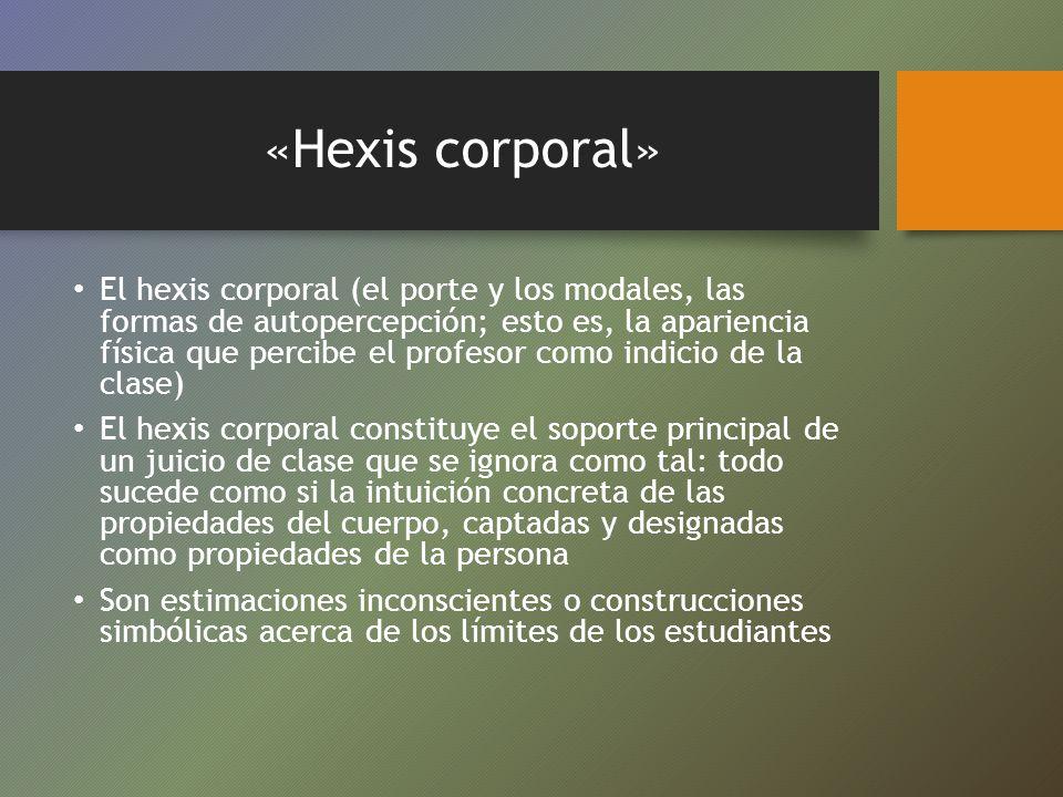 «Hexis corporal» El hexis corporal (el porte y los modales, las formas de autopercepción; esto es, la apariencia física que percibe el profesor como i