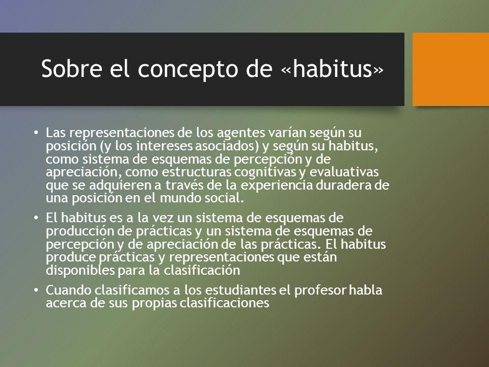Sobre el concepto de «habitus» Las representaciones de los agentes varían según su posición (y los intereses asociados) y según su habitus, como siste
