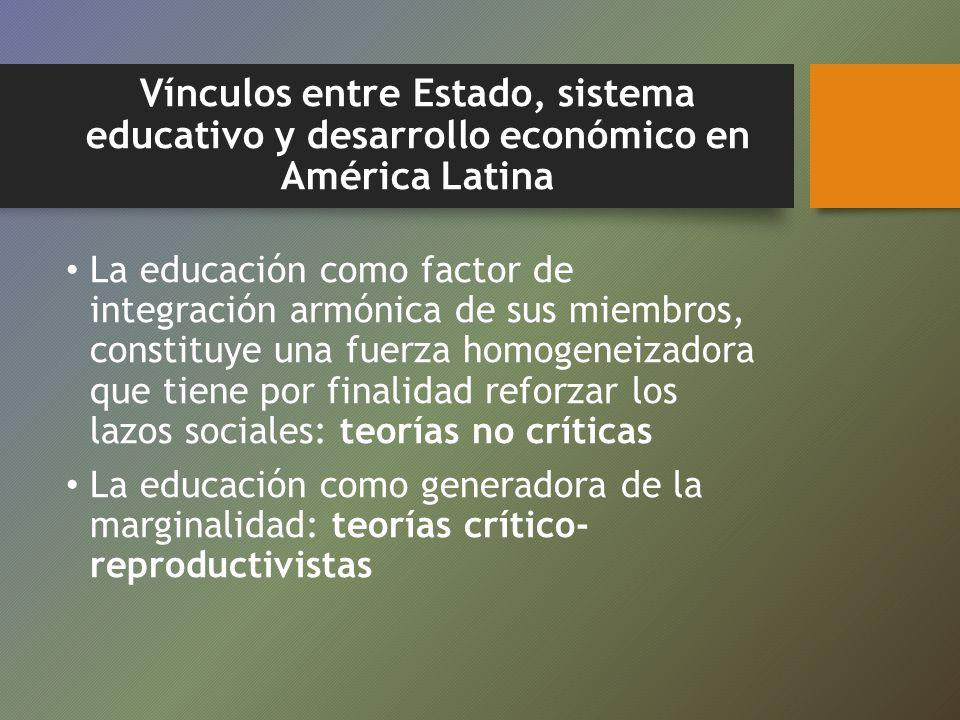 Vínculos entre Estado, sistema educativo y desarrollo económico en América Latina La educación como factor de integración armónica de sus miembros, co