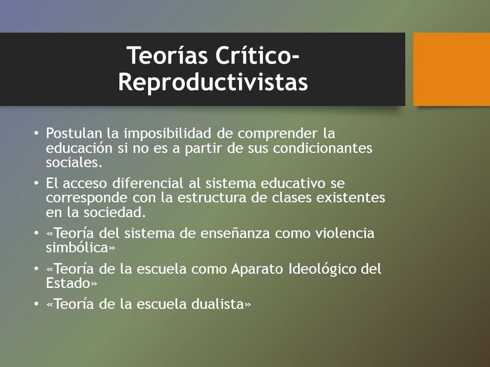 Teorías Crítico- Reproductivistas Postulan la imposibilidad de comprender la educación si no es a partir de sus condicionantes sociales. El acceso dif