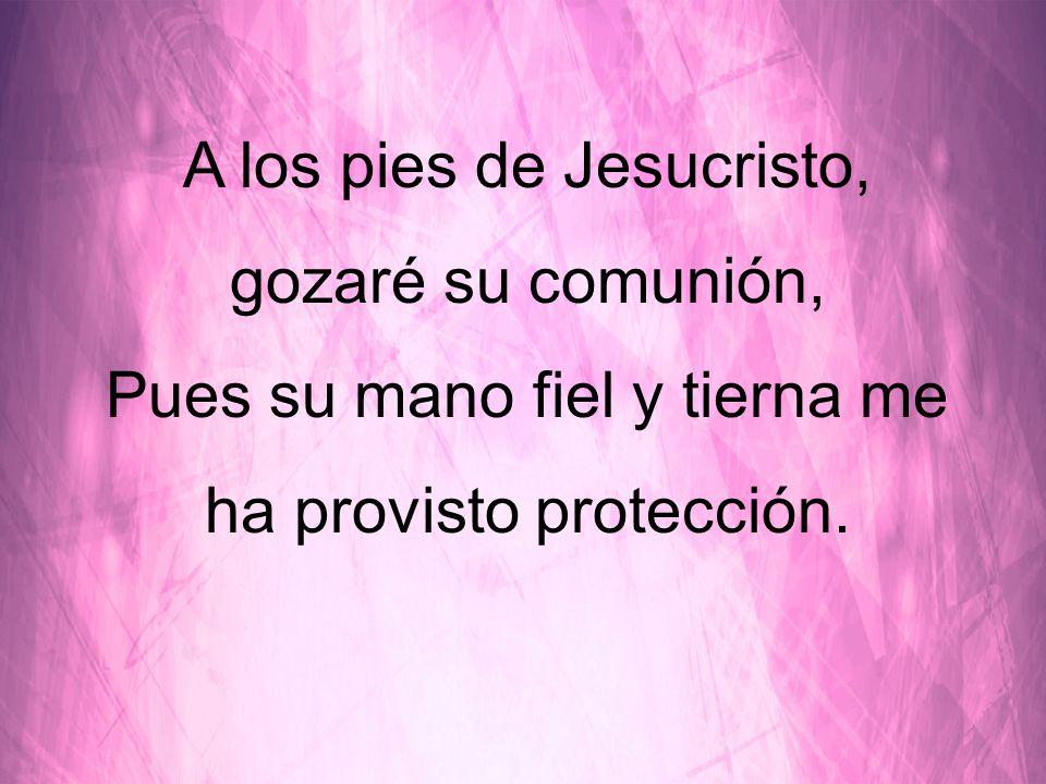 A los pies de Jesucristo, gozaré su comunión, Pues su mano fiel y tierna me ha provisto protección.