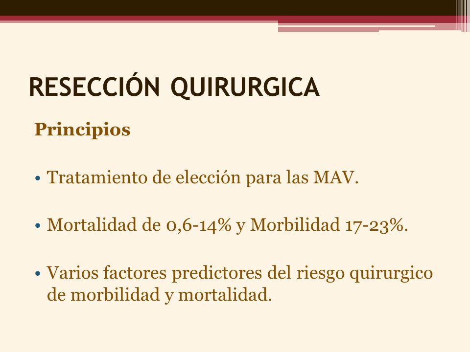 RESECCIÓN QUIRURGICA Principios Tratamiento de elección para las MAV. Mortalidad de 0,6-14% y Morbilidad 17-23%. Varios factores predictores del riesg