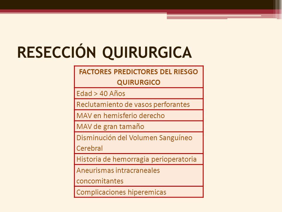 RESECCIÓN QUIRURGICA FACTORES PREDICTORES DEL RIESGO QUIRURGICO Edad > 40 Años Reclutamiento de vasos perforantes MAV en hemisferio derecho MAV de gra