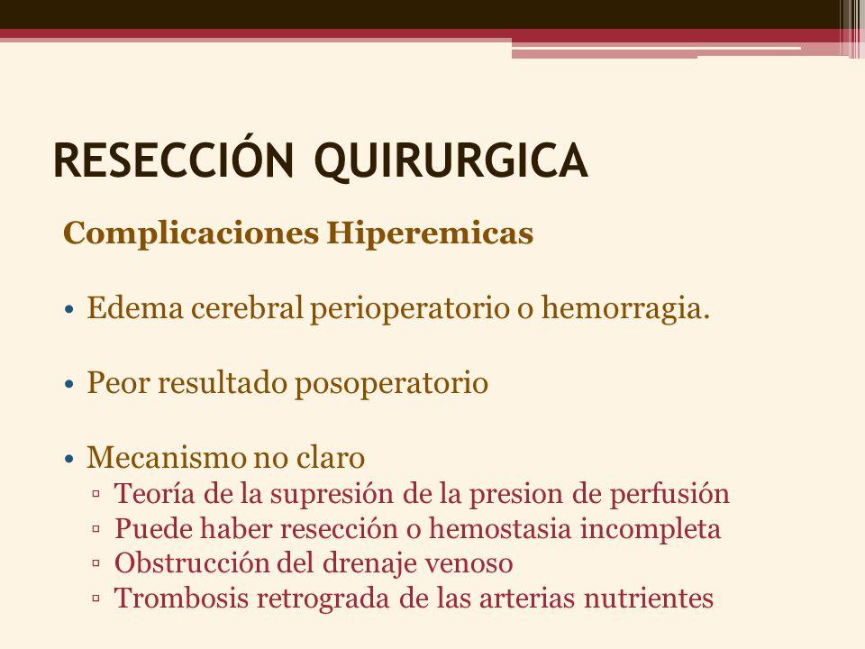 RESECCIÓN QUIRURGICA Complicaciones Hiperemicas Edema cerebral perioperatorio o hemorragia. Peor resultado posoperatorio Mecanismo no claro Teoría de