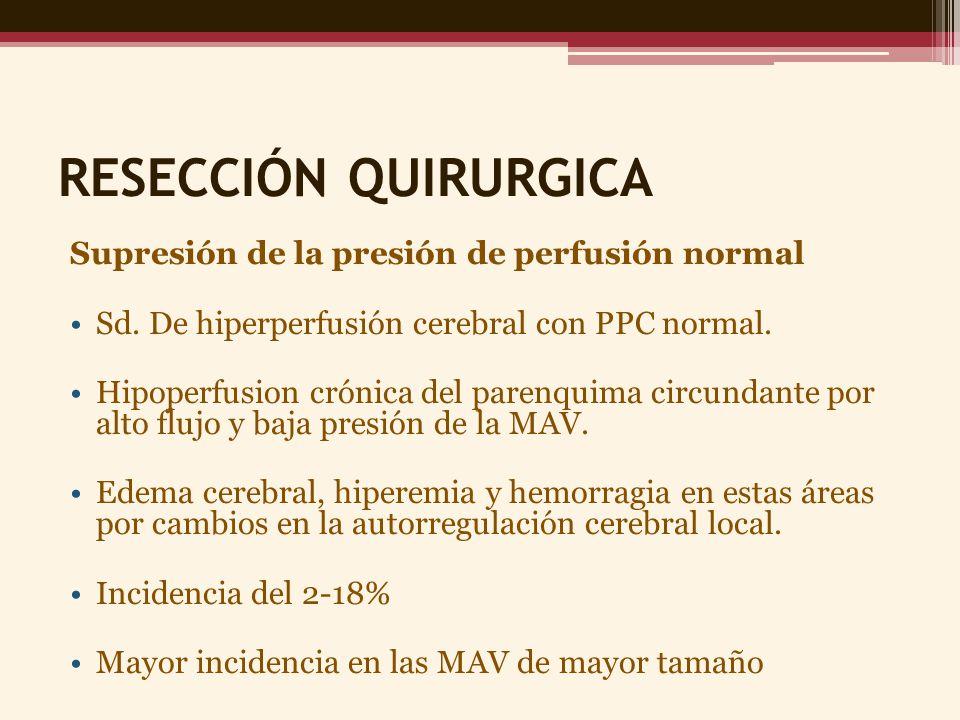 RESECCIÓN QUIRURGICA Supresión de la presión de perfusión normal Sd. De hiperperfusión cerebral con PPC normal. Hipoperfusion crónica del parenquima c