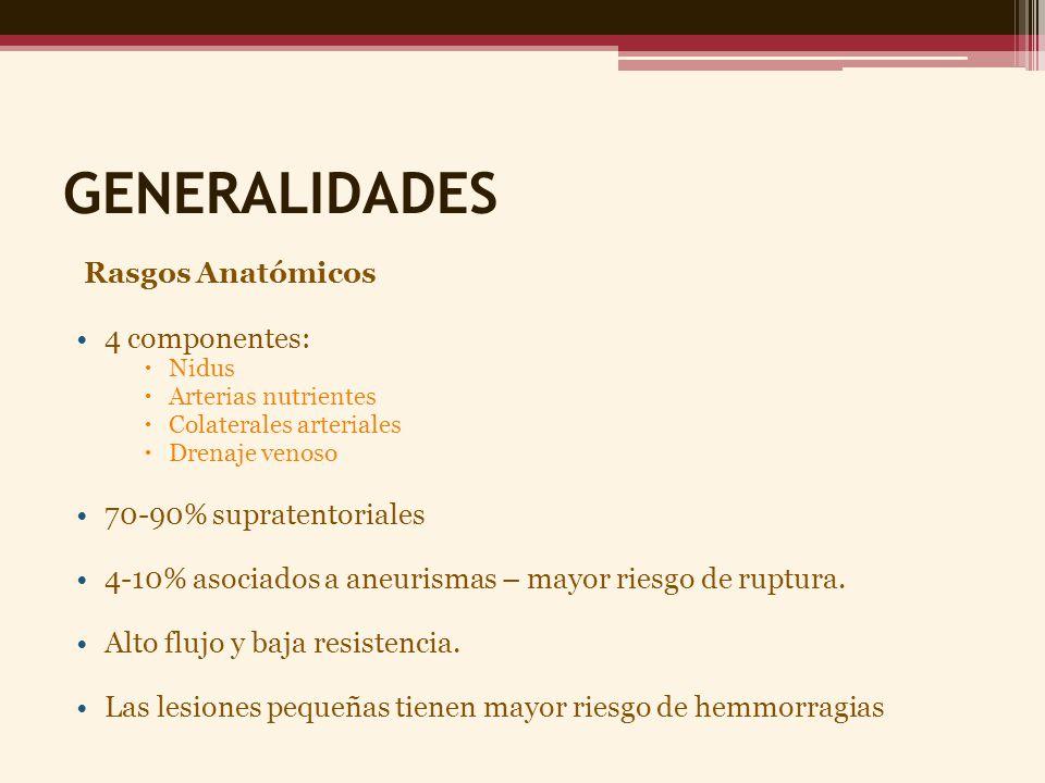GENERALIDADES Rasgos Anatómicos 4 componentes: Nidus Arterias nutrientes Colaterales arteriales Drenaje venoso 70-90% supratentoriales 4-10% asociados