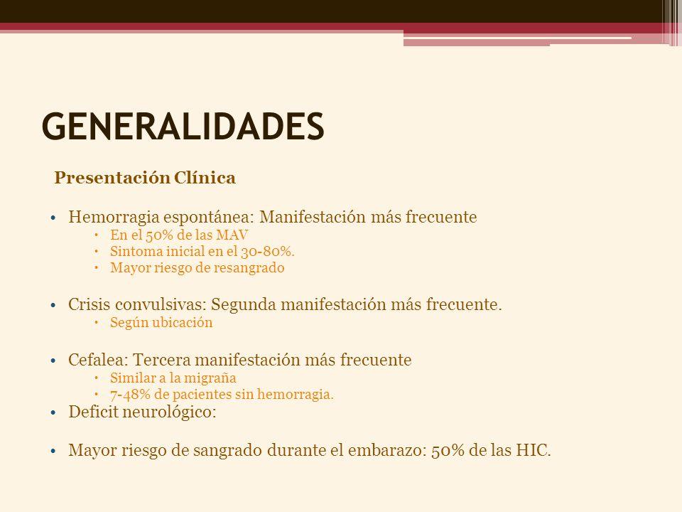 GENERALIDADES Presentación Clínica Hemorragia espontánea: Manifestación más frecuente En el 50% de las MAV Sintoma inicial en el 30-80%. Mayor riesgo