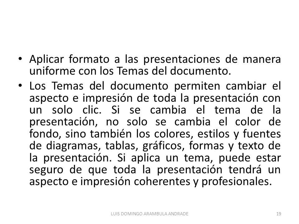 Aplicar formato a las presentaciones de manera uniforme con los Temas del documento.