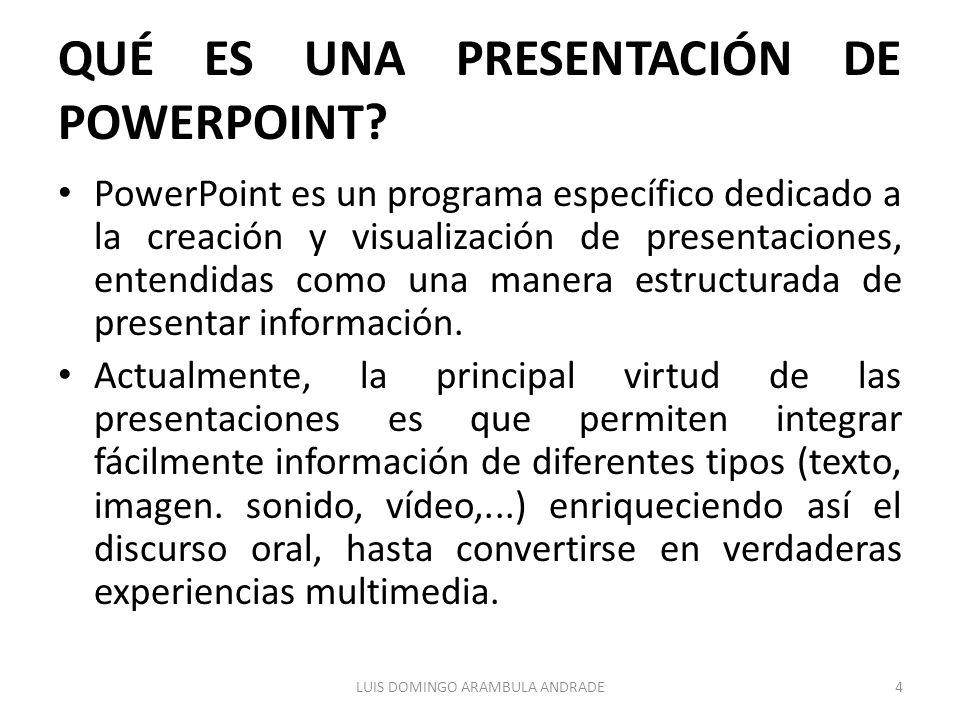QUÉ ES UNA PRESENTACIÓN DE POWERPOINT? PowerPoint es un programa específico dedicado a la creación y visualización de presentaciones, entendidas como