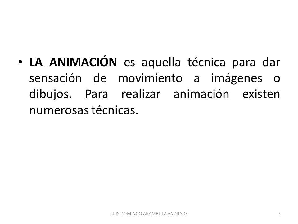 LA ANIMACIÓN es aquella técnica para dar sensación de movimiento a imágenes o dibujos. Para realizar animación existen numerosas técnicas. 7LUIS DOMIN