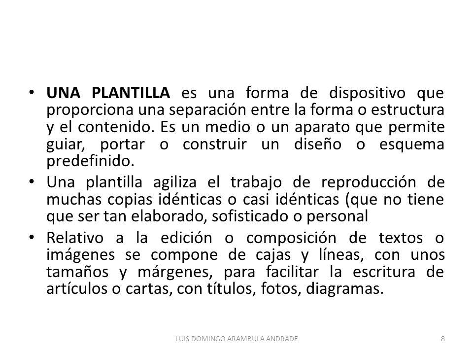 UNA PLANTILLA es una forma de dispositivo que proporciona una separación entre la forma o estructura y el contenido.
