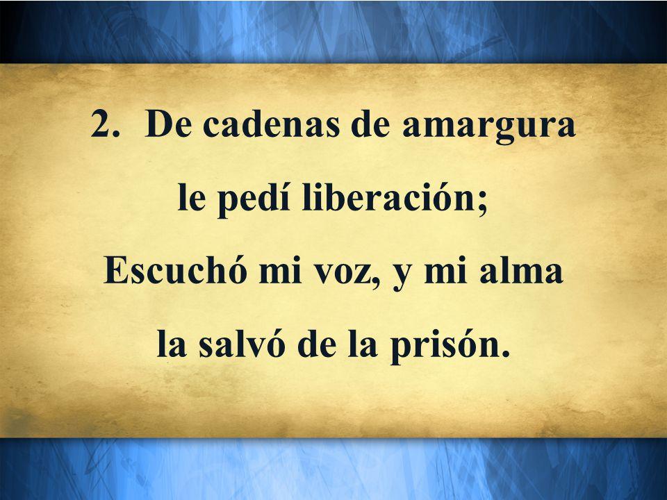 2.De cadenas de amargura le pedí liberación; Escuchó mi voz, y mi alma la salvó de la prisón.