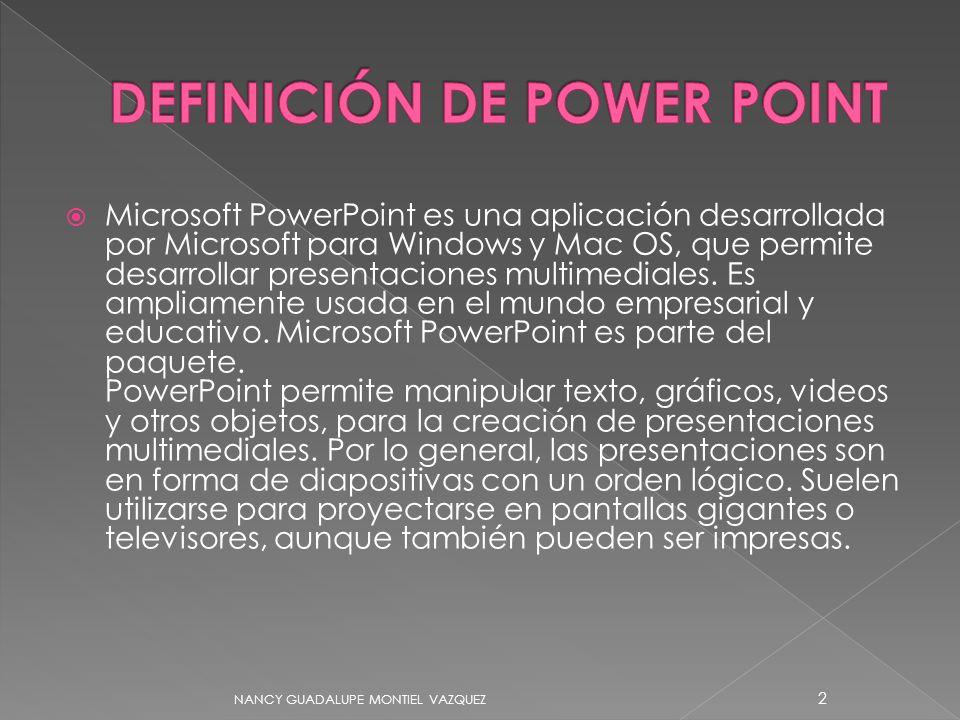 Microsoft PowerPoint es una aplicación desarrollada por Microsoft para Windows y Mac OS, que permite desarrollar presentaciones multimediales.